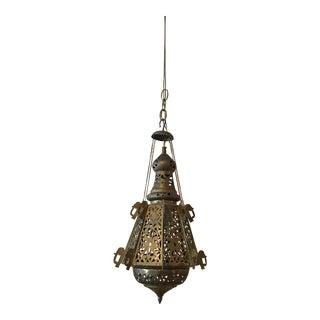Vintage Moroccan Pierced Brass Swag Lantern