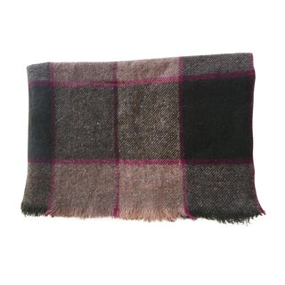 Brown & Magenta Check Rhodope Wool Blanket