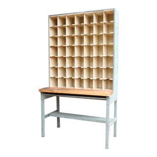 Vintage Industrial Mail Sorter Bar Shelf / Cabinet Desk