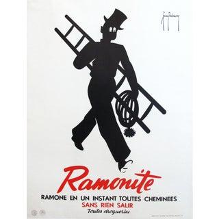 1920s Vintage Art Deco Advertising Poster, Ramonite Chimney Sweep