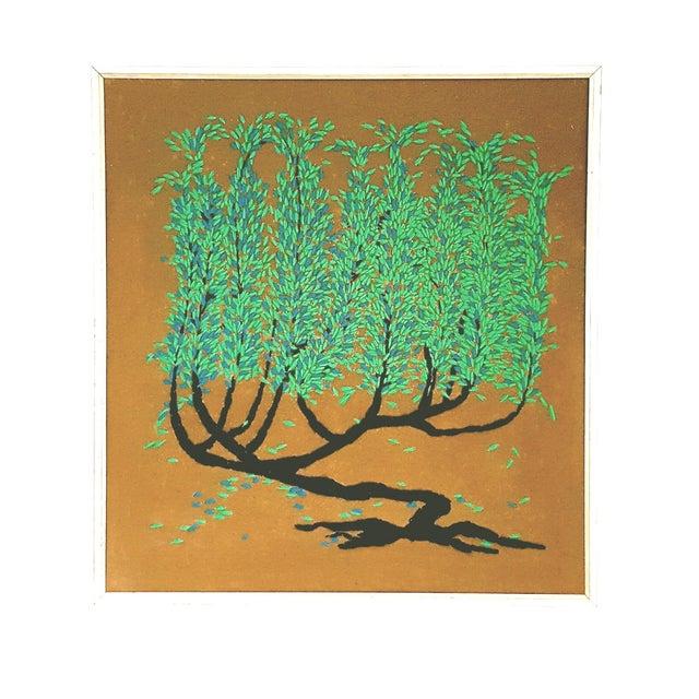 Image of Vintage Framed Tree of Life Textile Art