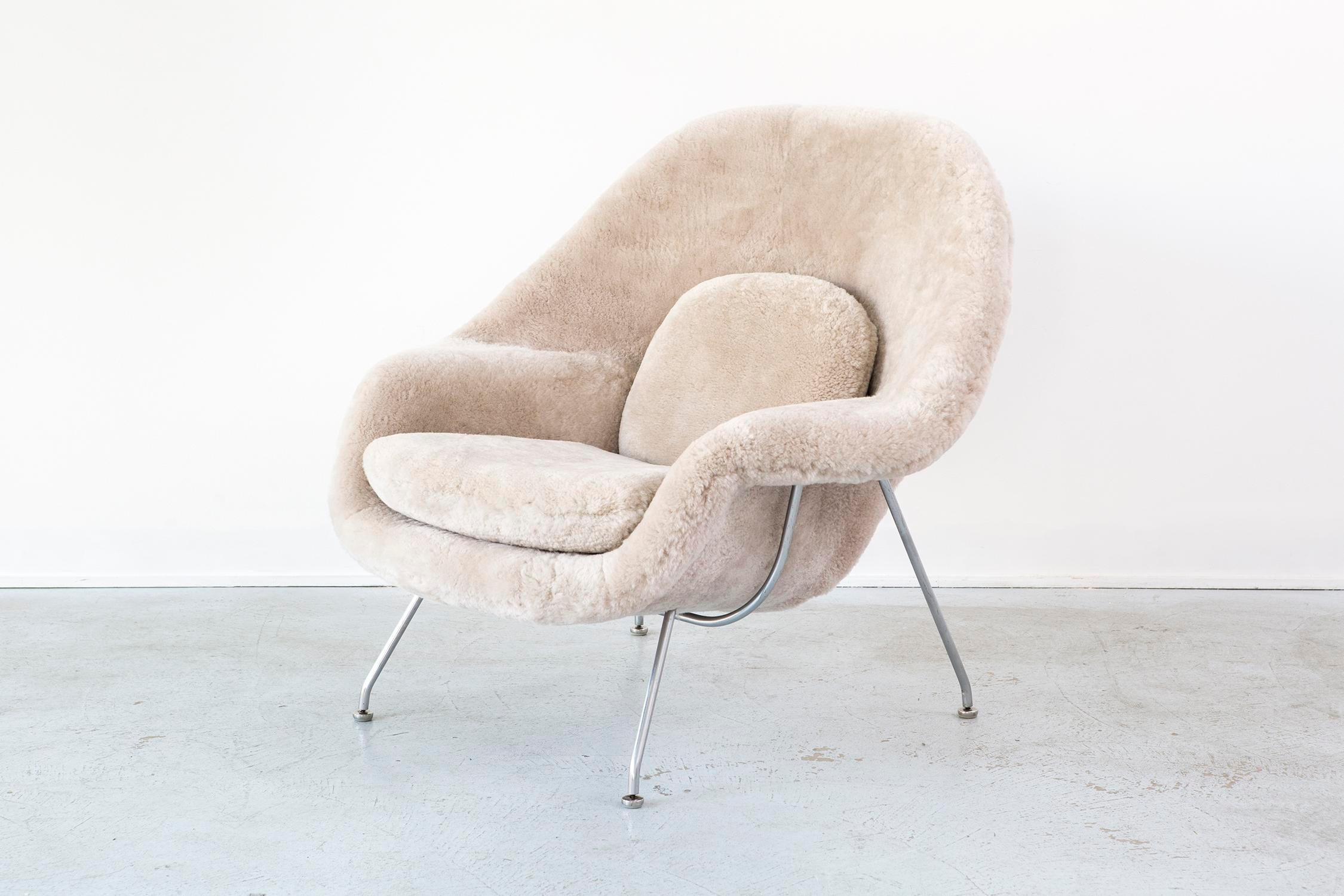 eero saarinen for knoll womb chair in shearling image 3 of 9