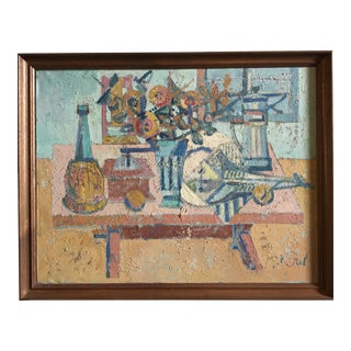 Abraham Krol 1940-50s Oil Still Life with Fish Painting
