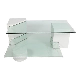 Postmodern Geometric Multi-Tiered Coffee Table, 1980s