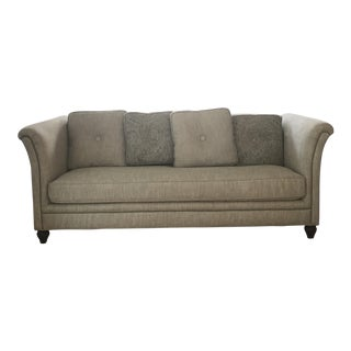 Versatile Transitional Light Gray Down Sofa with Paisley Pillows