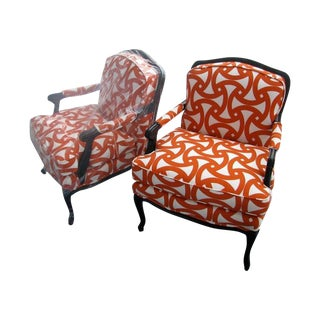 French Style Orange Bergere Chairs & Ottoman - S/3