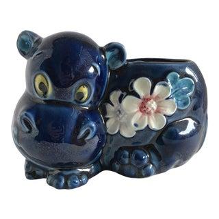 Vintage Ceramic Hippo Planter