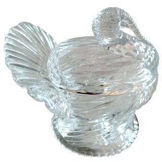 Mid-Century Clear Glass Turkey Bowl / Jar