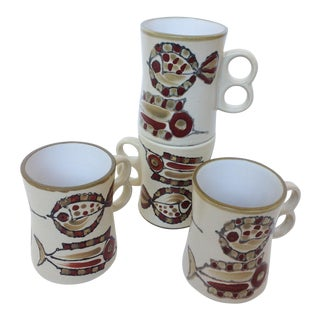 Vintage Holt Howard Japan Mid Century Modern Mugs - S/4