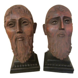 Antique Hand Carved Roman Heads - A Pair