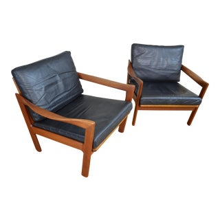 Illum Wikkelso for Niels Eilersen Danish Teak Easy Chairs with Leather Upholstery - a Pair