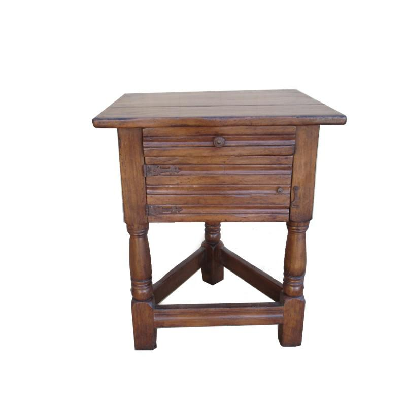Rustic Cottage Walnut Triangular Base Side Table End Table   Image 3 Of 8