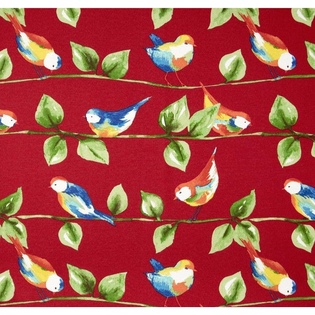 Berry Red Curious Birds Outdoor Pillows - Pair - Image 2 of 2