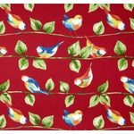 Image of Berry Red Curious Birds Outdoor Pillows - Pair