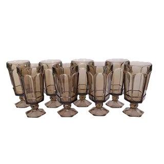 Vintage Fostoria Virginia Brown Tall Stemmed Glasses - Set of 8