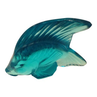 Lalique Turquoise Angel Fish Figure