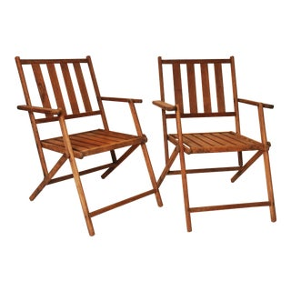 Vintage Slat Wood Folding Chairs - A Pair
