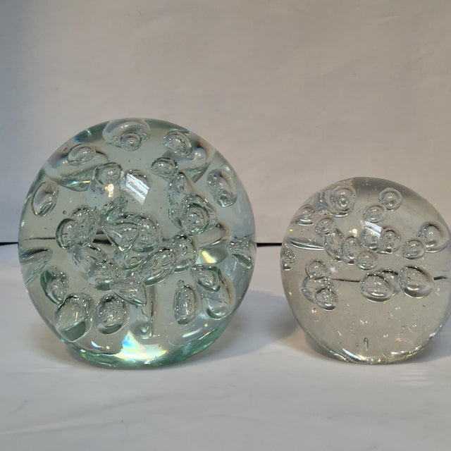 Glass Orbs with Air Bubbles - Pair - Image 2 of 5