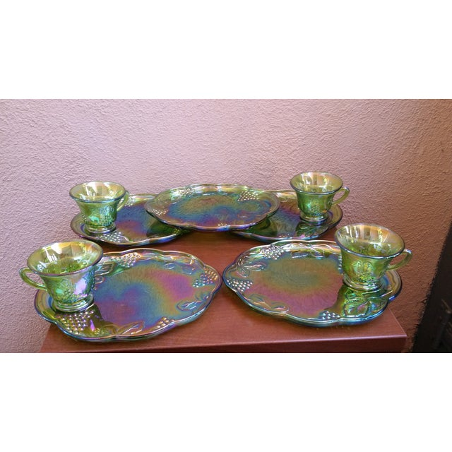 Image of Carnival 1970s Iridescent Green & Brown Glassware