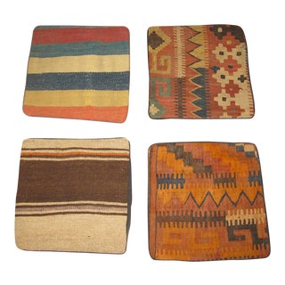 Vintage Afghan Kilim Pillow Cases- Set of 4