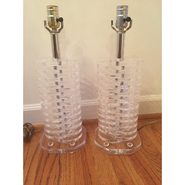 Stacked Lucite Lamps - A Pair - Image 2 of 11