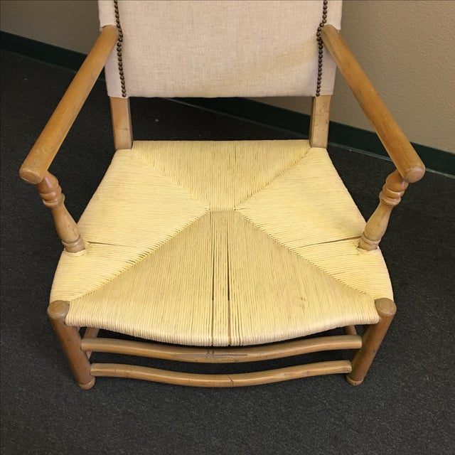Linen Upholstered Oak and Woven Chair - Image 5 of 7