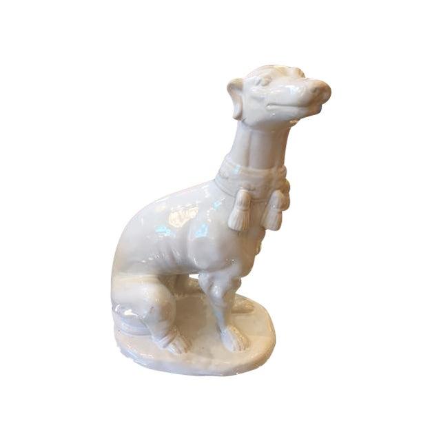 White Ceramic Greyhound Statue Chairish