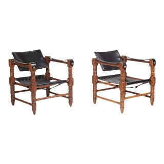 Mid-Century Campaign Safari Black Leather Chairs - a Pair
