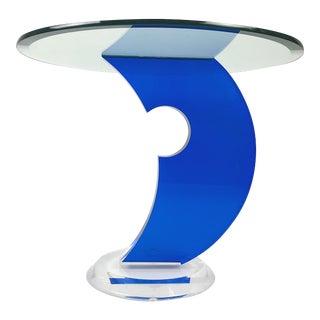 Custom Blue Lucite Side Table