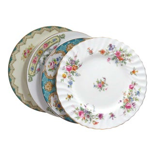 Vintage Mismatched China Dessert Plates - Set of 4