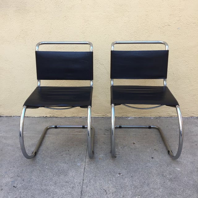 Image of Chrome Mies Van Der Rohe Style Chairs - A Pair
