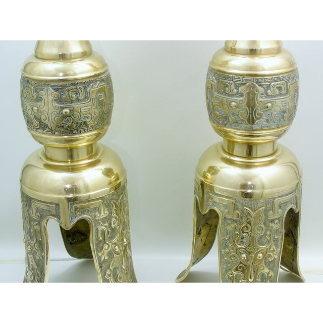 Monumental Large Asian Brass Table Lamps Mid-Century Modern McM- a Pair - Image 6 of 11