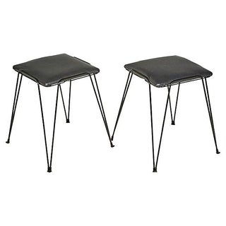 1960s Black Hairpin-Style Stools - Pair