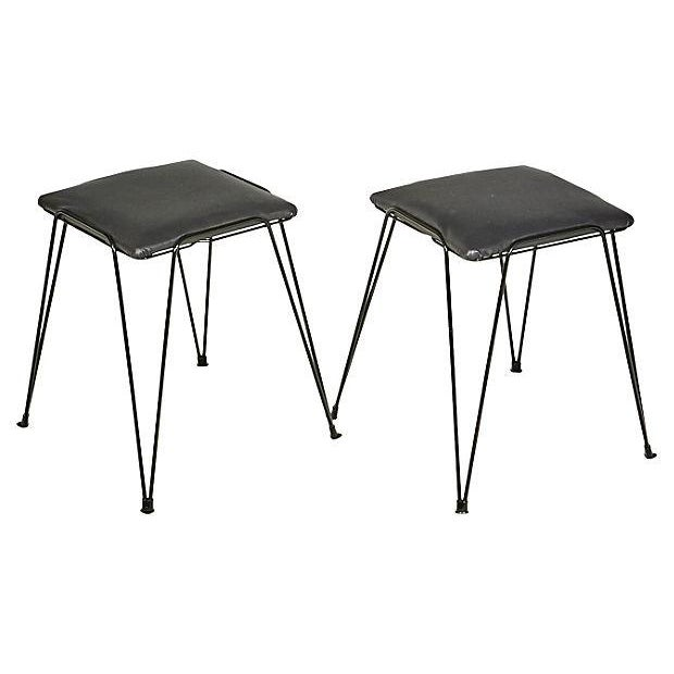 Image of 1960s Black Hairpin-Style Stools - Pair
