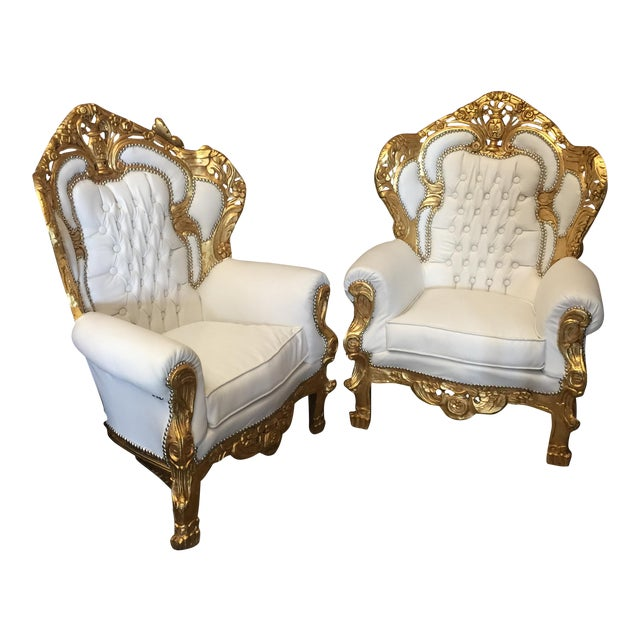 White Leather Tufted Throne Chairs - A Pair - Image 1 of 6
