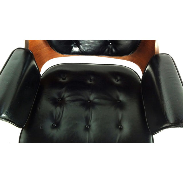 Image of Mid-Century Danish Leather & Walnut Lounge Chairs - A Pair