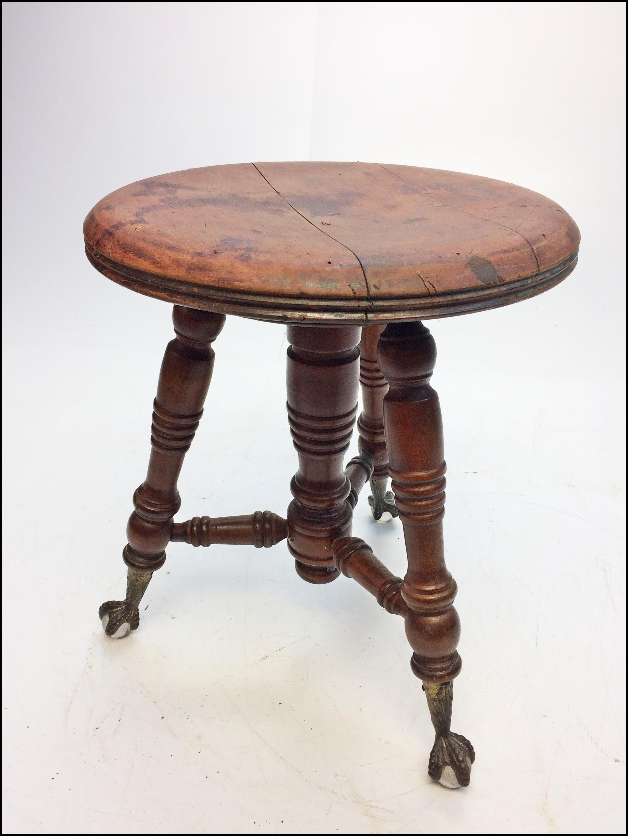 Victorian Carved Wood Piano Stool with Ball u0026 Claw Feet - Image 8 of 11  sc 1 st  Chairish & Victorian Carved Wood Piano Stool with Ball u0026 Claw Feet | Chairish islam-shia.org