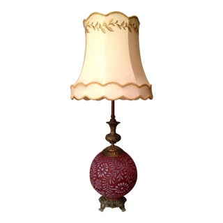 Retro Cornucopia Pink Glass Orb Table Lamp