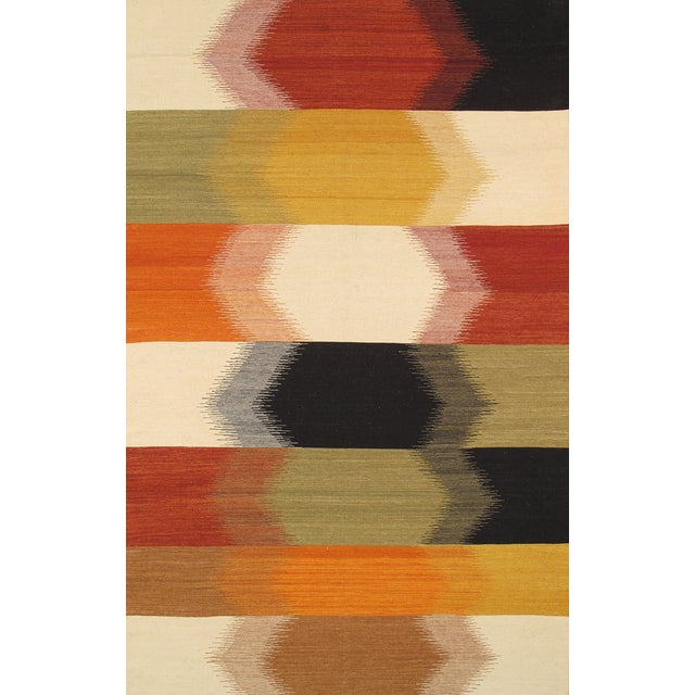 Modern Reversable Hex Wool Kilim - 5' x 8' - Image 1 of 2