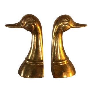Classic Brass Duck Bookends - a Pair