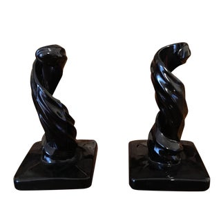 Mid-Century Black Glass Candle Holders - A Pair