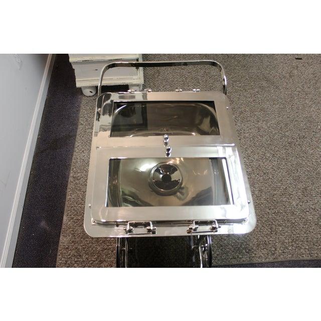 Image of Mid-Century Modern Chrome Ice Bar Rolling Cart