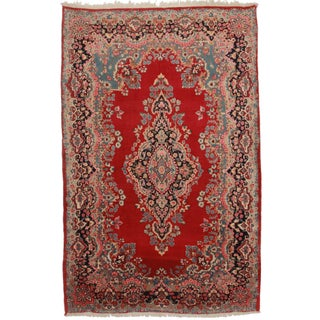 Hand-Knotted Persian Yazd Rug - 6′7″ × 10′2″