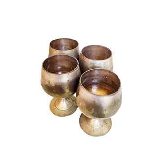 Antique Pewter Brandy Snifters - Set of 4