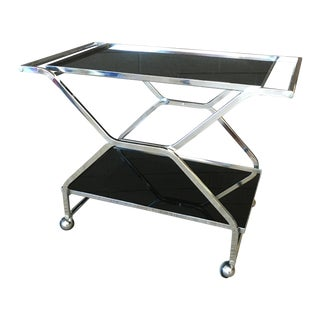 Chrome and Lucite Collapsible Bar Cart