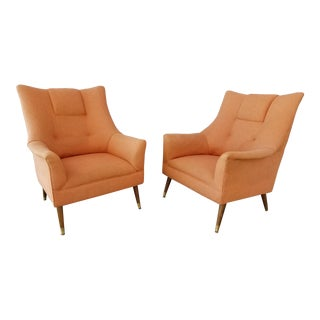 1960's Lounge Chairs with Peg Legs - A Pair