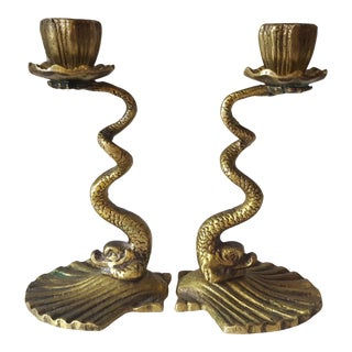 Vintage Hollywood Regency Brass Koi Fish Candle Holders - A Pair