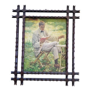 Vintage Oil Painting Man Reading