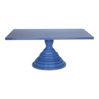 Custom Periwinkle Pedestal Table