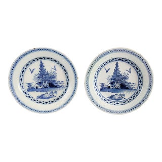 Antique Delft Chinoiserie Plates, Pair